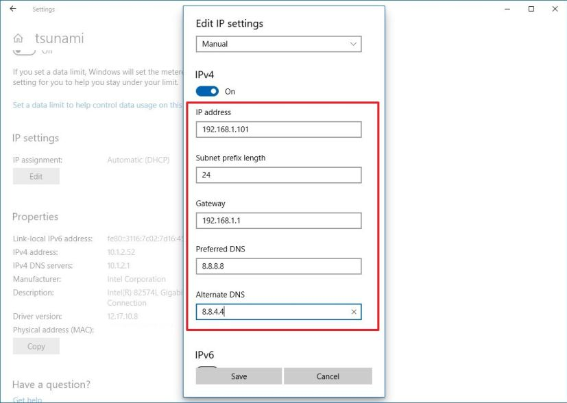 Assign static IP address using Settings on Windows 10