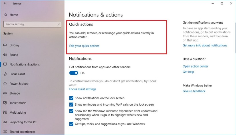 Notifications & actions settings on Windows 10 April 2019 Update