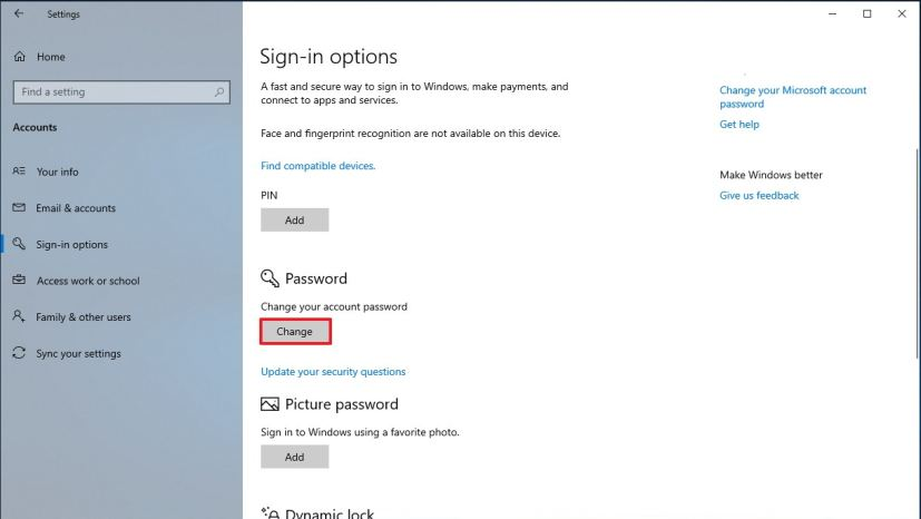 Sign-in options for local account on Windows 10