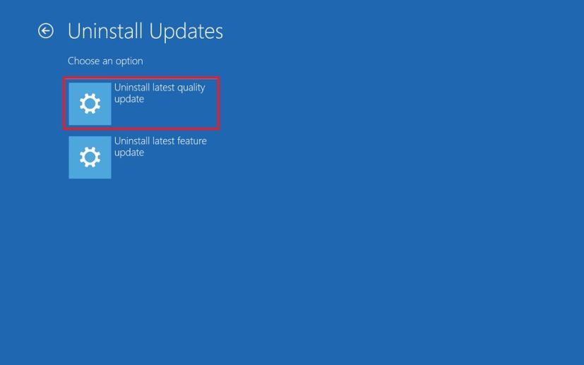 Advanced startup, Uninstall latest updates option