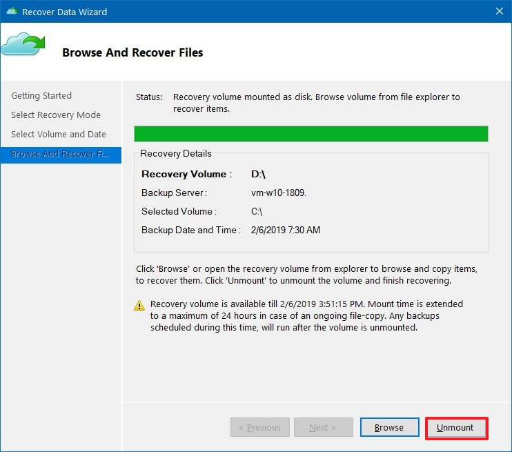 Unmount Azure backup recovery point