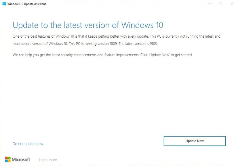 Update Assistant for Windows 10 version 1903