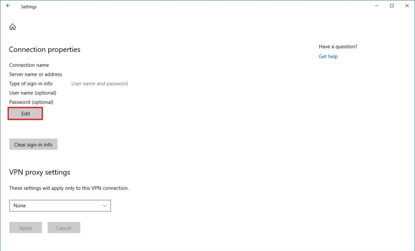 Edit VPN settings on Windows 10