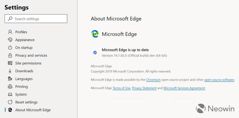 Microsoft Edge (Chromium) about