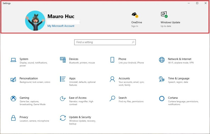 Settings app with header on Windows 10 version 1903