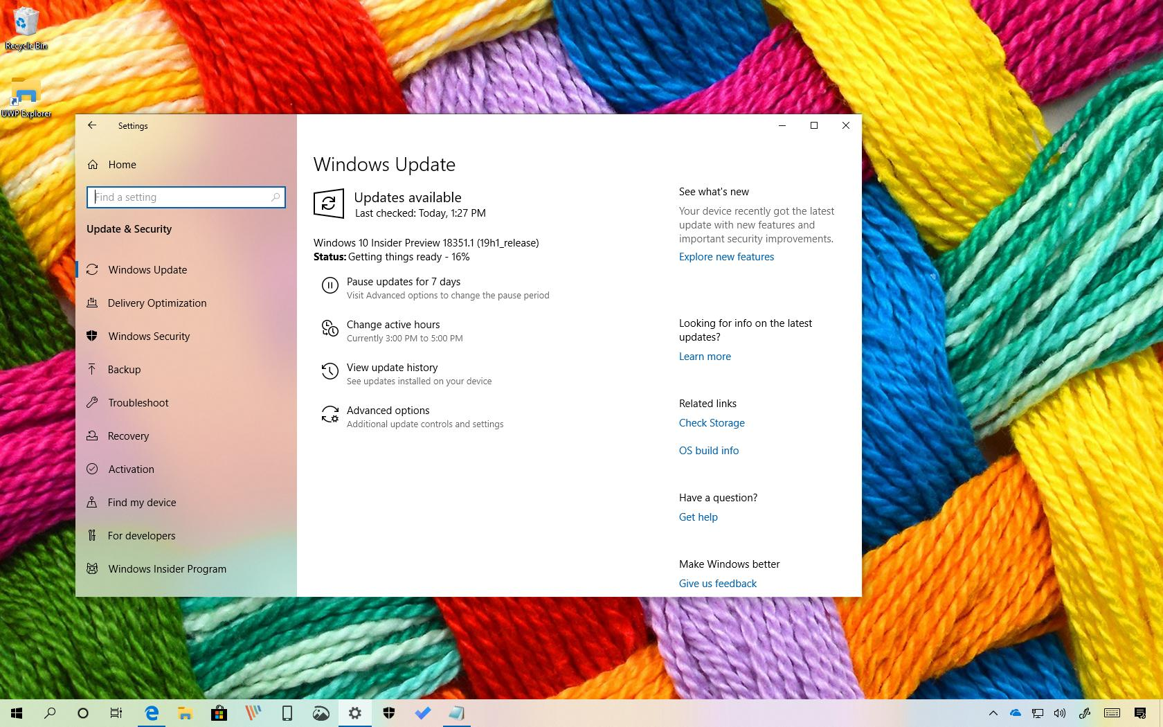 Windows 10 build 18351 leading to April 2019 Update