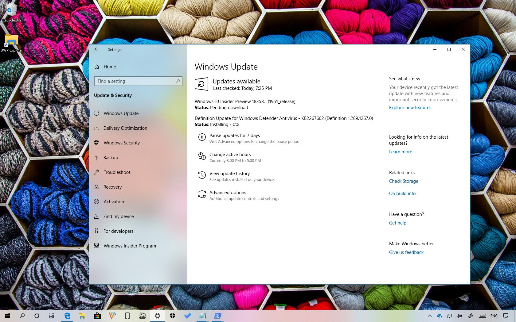 Windows 10 build 18358