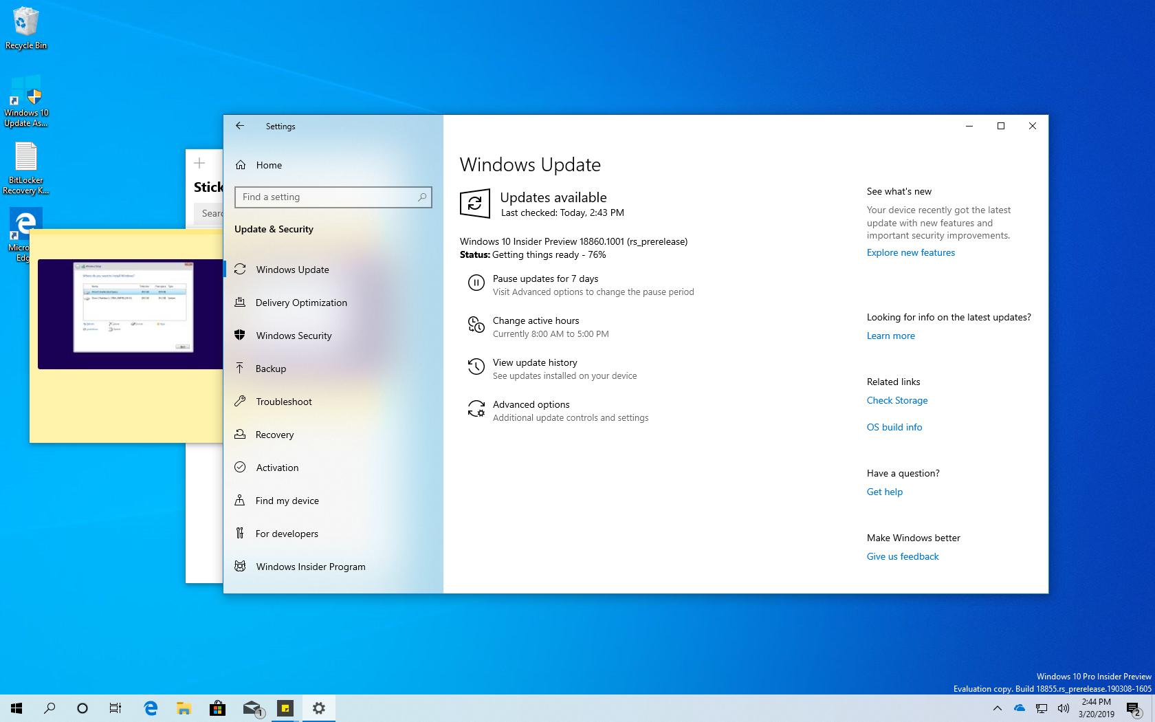 Windows 10 build 18860 (20H1) releases with improvements • Pureinfotech