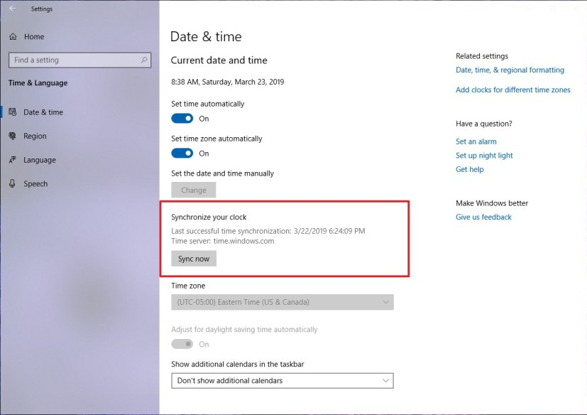 Date & Time settings with manual clock sync option on Windows 10 version 1903