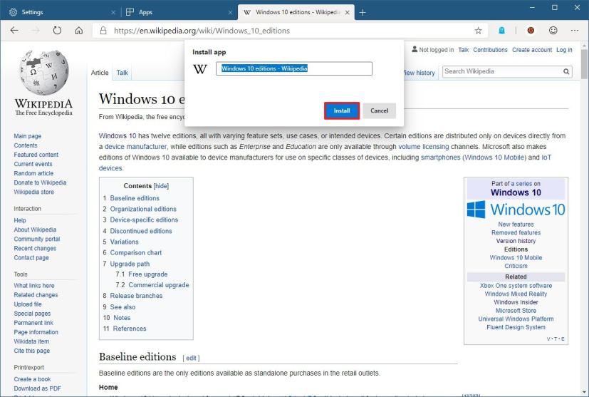 Configure web app on Microsoft Edge