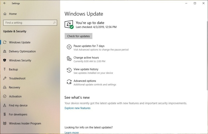 Disable updates on Windows Update settings page