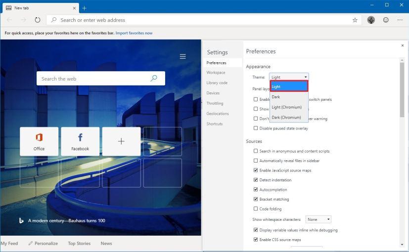 Microsoft Edge Chromium dark to light mode