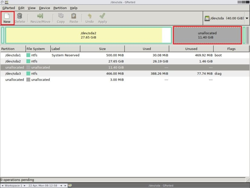 Select unallocated space using GParted