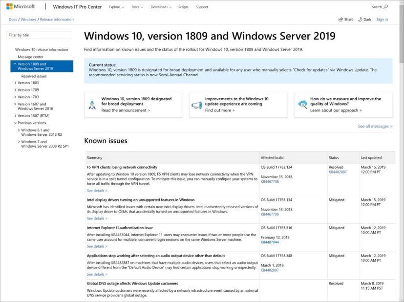 Windows 10 health dashboard starting version 1903