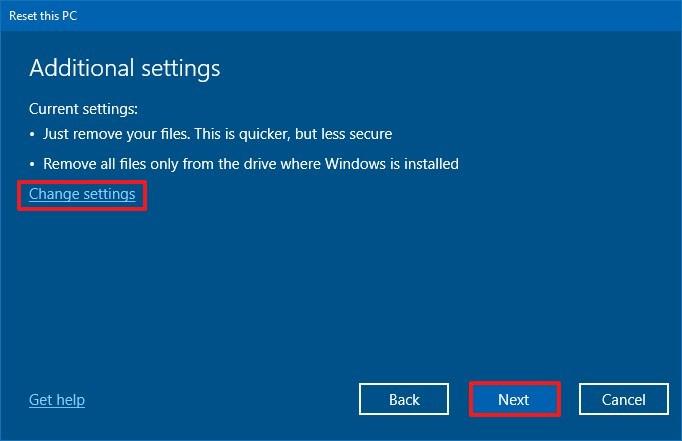 Reset this PC advanced settings