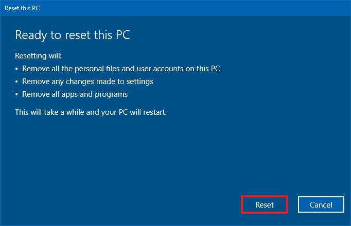 Remove everything from Windows 10 PC security
