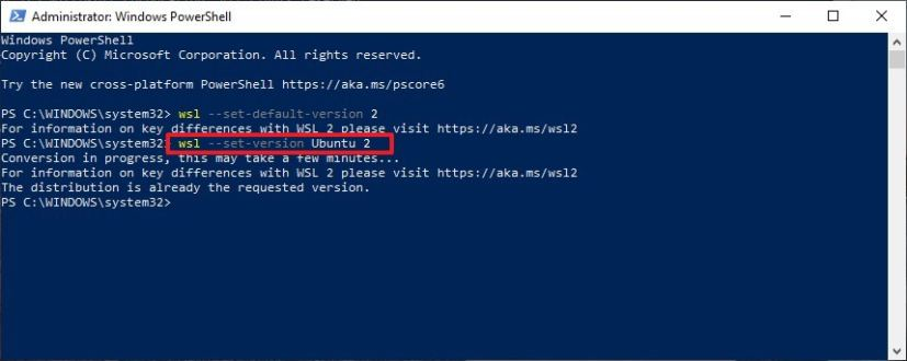 Convert distro WSL 1 to WSL 2 on Windows 10 20H1