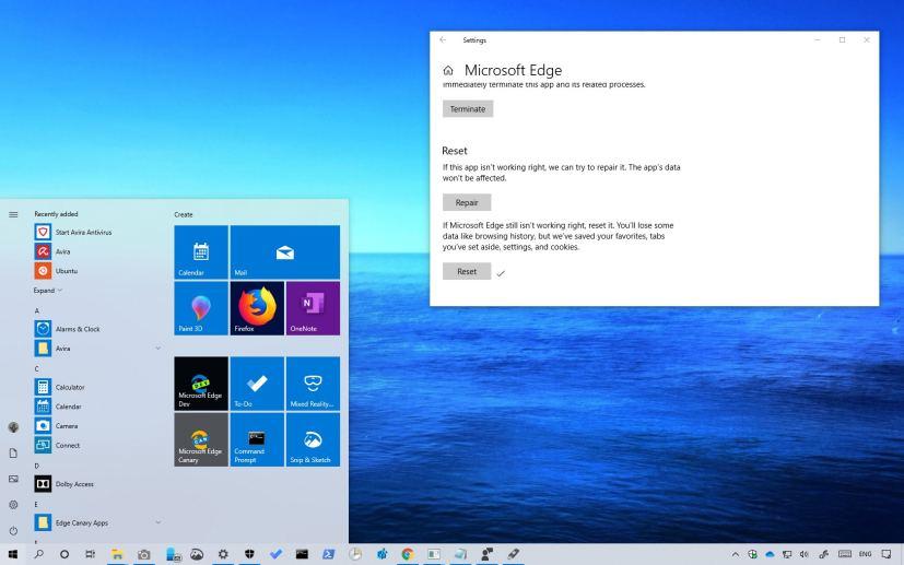 Reset an app on Windows 10