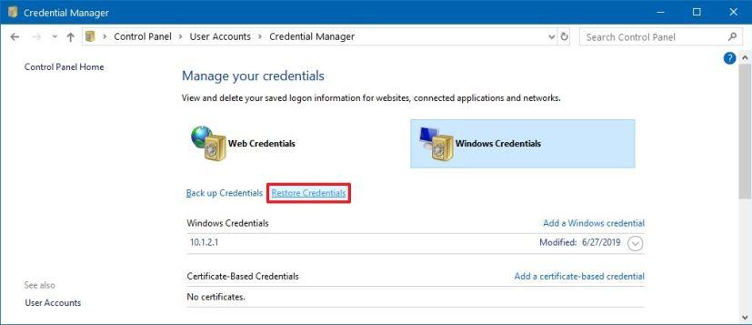 Restore Windows 10 credentials option