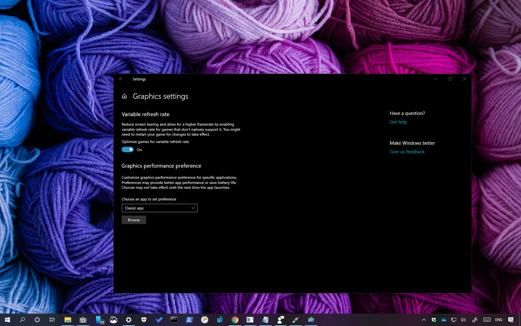 Variable refresh rate (VRR) on Windows 10 1903 and later