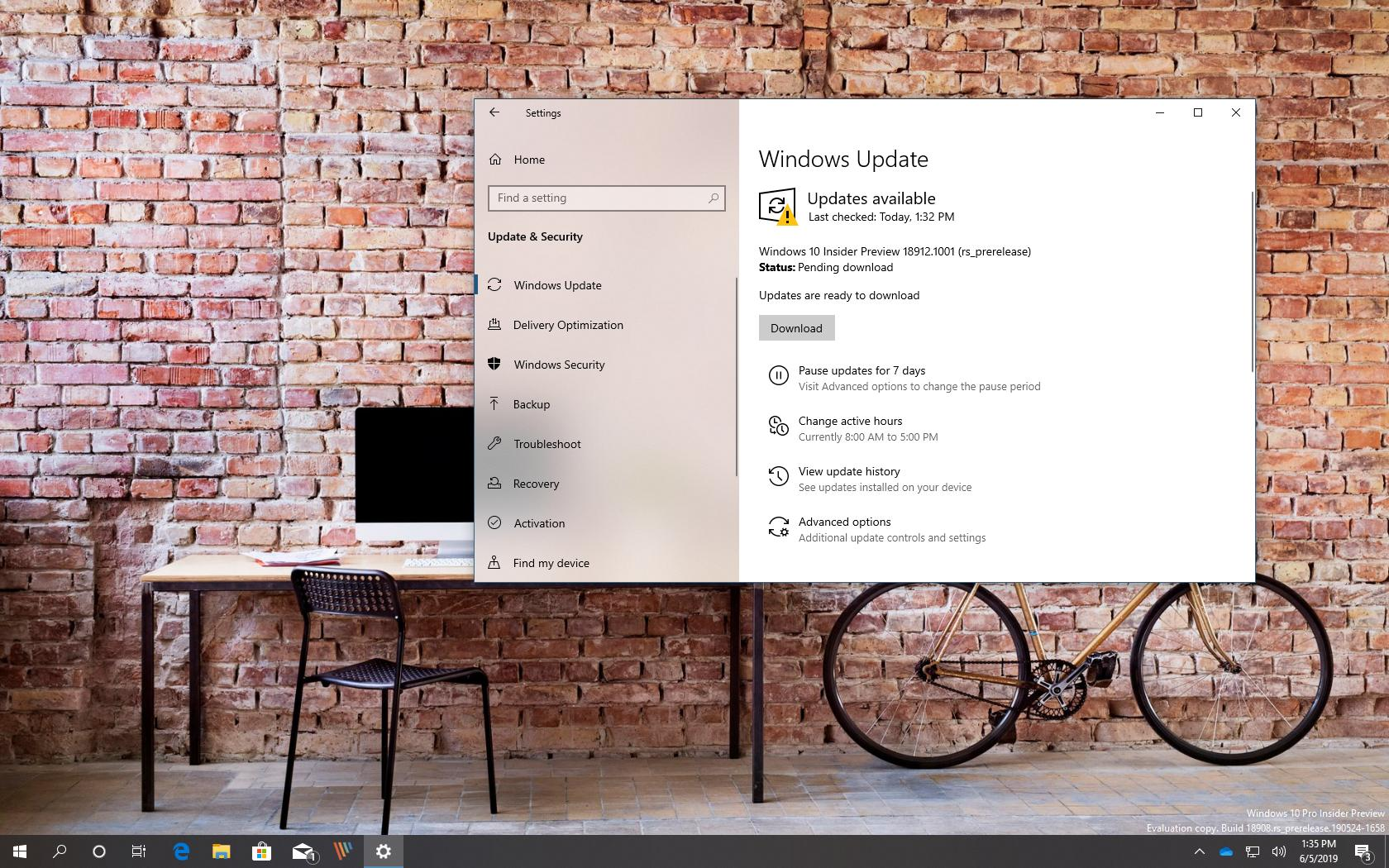 Windows 10 build 18912