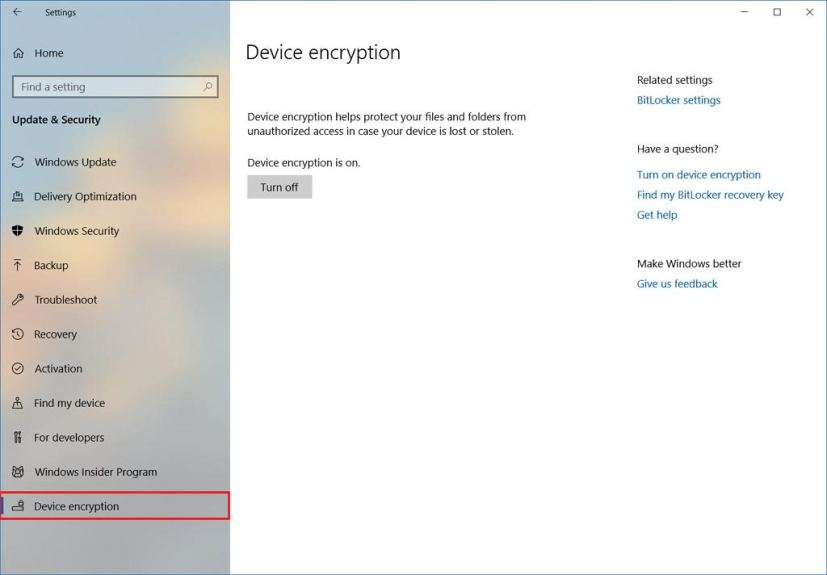 Device Encryption on Windows 10 Settings