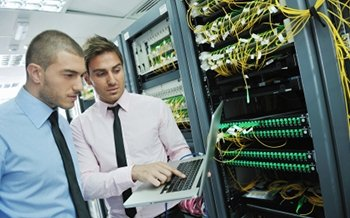 Two men in data centre