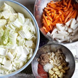 Kimchi ingredients by Purely Pacha
