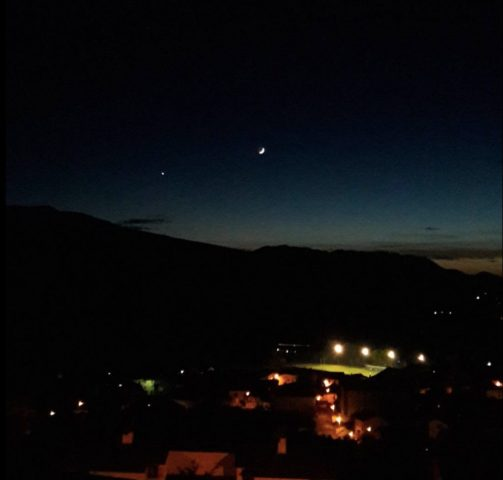 Moon and Venus over Osseja on election night