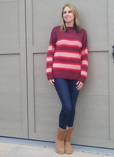 Chenille Red Stripe Sweater