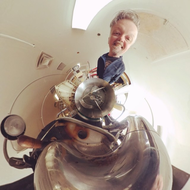 Tiny planet of Glenn and the Cuppers roaster.