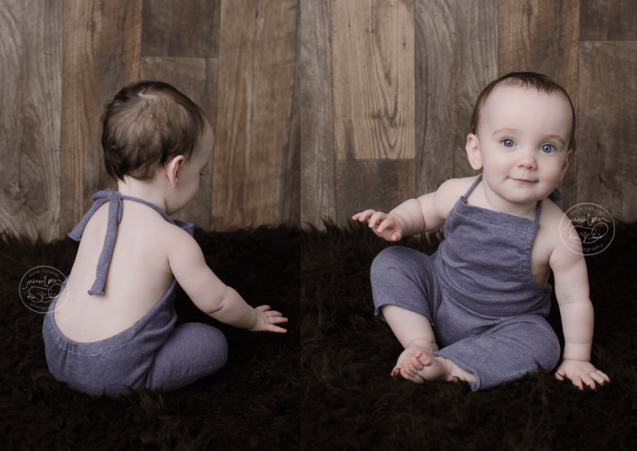 baby-photos-milestone-10-months-smiling-sitting-barnwood-floor-wall-upcycled-purple-knit-sweater-sitter-romper-chocolate-brown-flokati-faux-fur