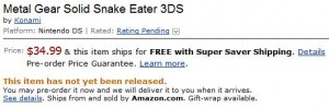 RUMOR – Amazon posts pricing for 3DS games