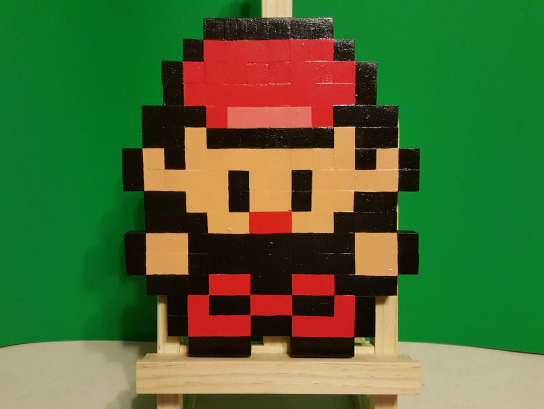 Pokemon Trainer Red Wooden Sprite Plaque by MrGilder