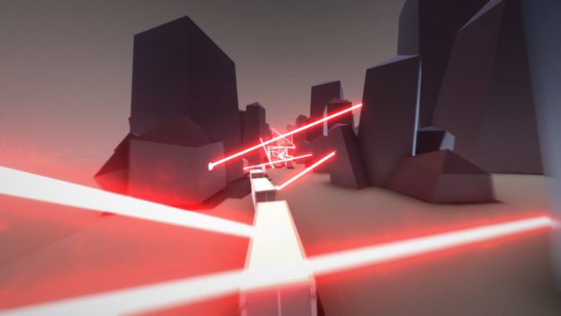 Clustertruck screenshot - lasers everywhere!