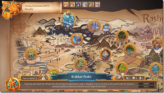 Regalia's map screen, depicting dungeons