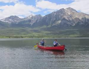 Canoe On Maligne Lake in Jasper National Park