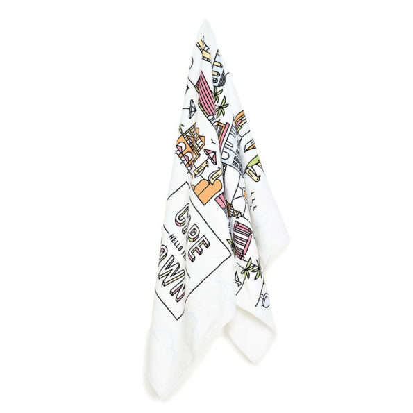 Pure Designer Products Cape Town illustration towel multi coloured hanging