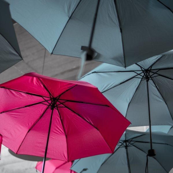 umbrellas, own design red and grey