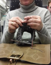 Knitting at the Stansted express