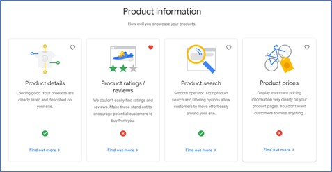 Screenshot of website recommendations on a Grow My Store report