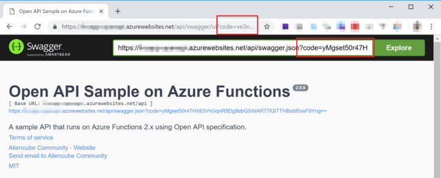 Swagger UI to Azure Function APIs