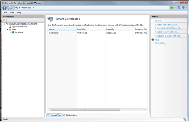Self-sign certificate activated in IIS