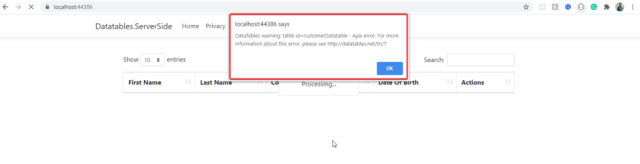 ajax error Datatable in ASP.NET Core - ServerSide Processing