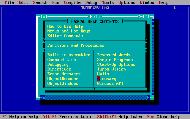 Turbo Pascal 7.1 Help - Fifty years of Pascal