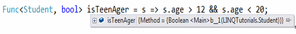 Func delegate in debug mode - Universal PredicateBuilder for Expression