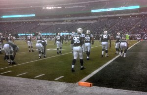 Muhammad Wilkerson seen in warmups along with Jets teammates
