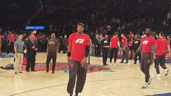 Credit: Barry Holmes/PureSportsNY ... Pierce played in his final game at the Garden Friday night.