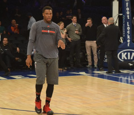 Credit: Barry Holmes/PureSportsNY ... Lowry about to warm-up before Monday night's contest.