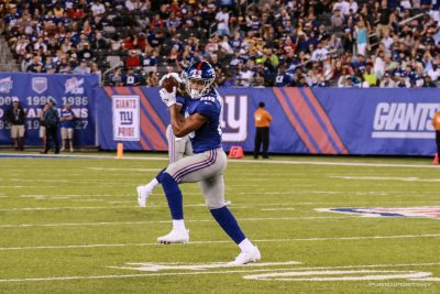 (Photo Credit: Bobby O'Hara/PureSportsNY) Engram catching a pass in the Giants' first preseason game.